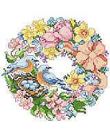 This sweet wreath full of cheerful spring colors and nesting birds is one of four seasonal wreaths that look perfect together stitched on a pillow or in a long line in a frame.