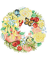 This sweet wreath full of summer flowers, butterflies, ribbons and fresh fruit is one of four seasonal wreaths that look perfect together stitched on a pillow or in a long line in a frame. Collect all four.