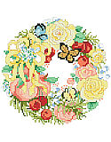 A Wreath For Summer - PDF: This sweet wreath full of summer flowers, butterflies, ribbons and fresh fruit is one of four seasonal wreaths that look perfect together stitched on a pillow or in a long line in a frame. Collect all four.