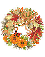 This sweet wreath full of warm fall foliage and corn is one of four seasonal wreaths that look perfect together stitched on a pillow or in a long line in a frame. Collect all four.