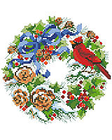This sweet wreath full of cheerful winter pine cones, berries and birds is one of four seasonal wreaths that look perfect together stitched on a pillow or in a long line in a frame. Collect all four.