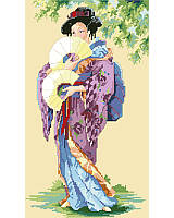 Beauty tenfold! Sweeping kimono and delicate fans create a beguiling portrait of an Oriental Lady worked in counted cross stitch.