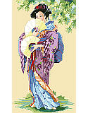 Oriental Lady PDF: Beauty tenfold! Sweeping kimono and delicate fans create a beguiling portrait of an Oriental Lady worked in counted cross stitch.
