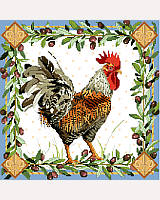 This intricate rooster design by Nancy Rossi blends intricate patterns of flora and fauna into an exquisite artwork that can be applied in many ways.