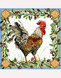 Rooster - PDF: This intricate rooster design by Nancy Rossi blends intricate patterns of flora and fauna into an exquisite artwork that can be applied in many ways.