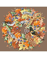 The perfect depiction of fall in this wonderful wreath of fall foliage, leaves, raffia, birds and feathers captures the crisp feeling of breezy and cool autumn weather leading to winter fun.