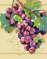 A luscious and large bunch of grapes jumps off the background of this great big stitch design.