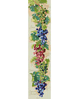 Tasty Grape Harvest Bell pull! Plants ablaze with the brilliance and abundance of the fruit of the vine.