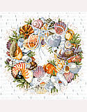 Seashell Wreath - PDF: This seaside delight where crabs and snails have long left their shells to the beach combers.