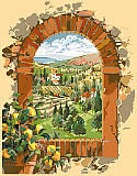 Dreaming of Tuscany - PDF: Tuscany, a charming land blessed by the genius of man and nature! A birds-eye view of vineyards on rolling hillsides with lush green cypress trees.