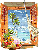 Tropical Vacation Window - PDF: Listen to the sound of the surf and seagulls as you imagine yourself on your own tropical paradise. Designed by Nancy Rossi