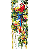 Rain Forest Ready! Famed for its colorful plumed beauty and legendary for its wild calls, this stunning parrot finds an exotic, flower-filled tropical paradise an enchanting place to perch.