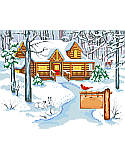 Cabin in the Woods - PDF: Enjoy the natural beauty of winter snuggled up by the fire in our Cabin In The Woods.