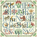 Enjoy stitching this beautiful alphabet created by Sandy Orton . Many of its motifs are taken from historical samplers of early America.